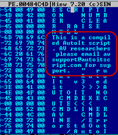 Screenshot showing a common indicator of a compiled AutoIt script\r\n(Source: Trend Micro)\r\n