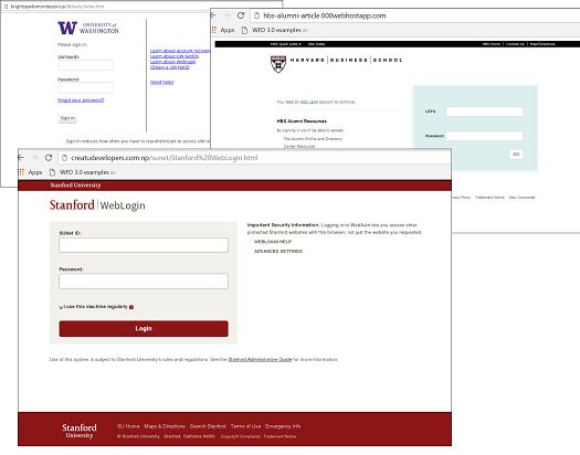 Example of fake university websites used in phishing campaigns\r\n(Source: Kaspersky)\r\n
