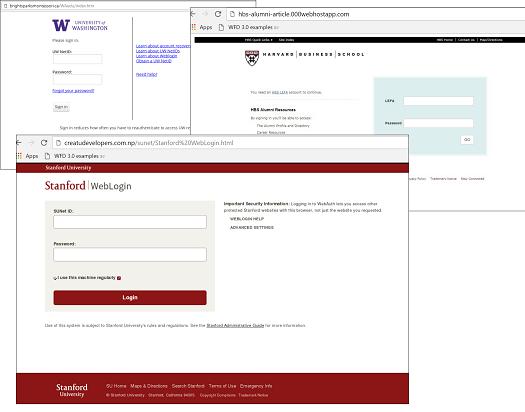 Example of fake university websites used in phishing campaigns (Source: Kaspersky)