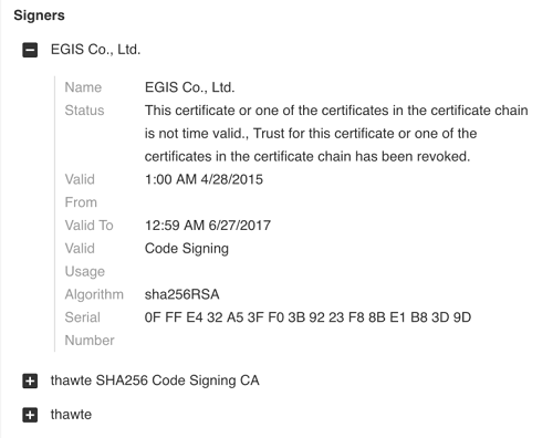 Certificate used to sign MECHANICAL/GREASE