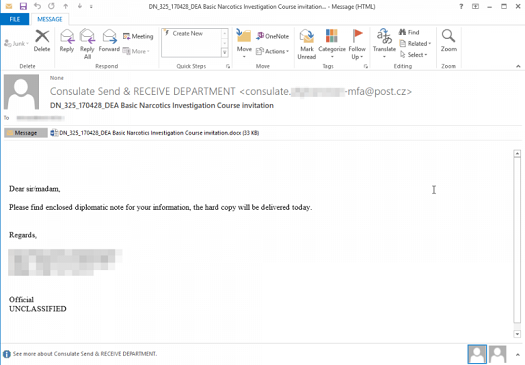 Example spear-phishing email delivered in Dear Joohn attacks. (Source: Palo Alto Networks)