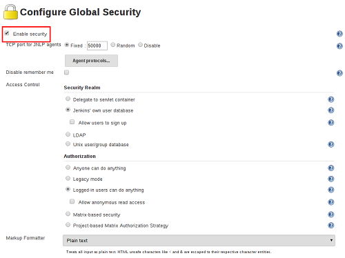 Jenkins Configure Global Security page