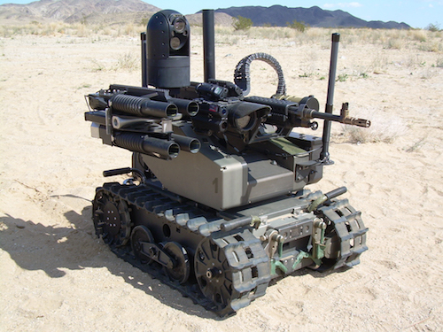 The un-manned Qinetiq Modular Advanced Armed Robotic System (MAARS(R)). It is used for surveillance, reconaissance and target acquisition by the US Marines.