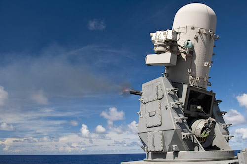 The Raytheon Phalanx Close-In Weapon System (CIWS), used by the US Army. It identifies incoming threats and destroys them automatically.
