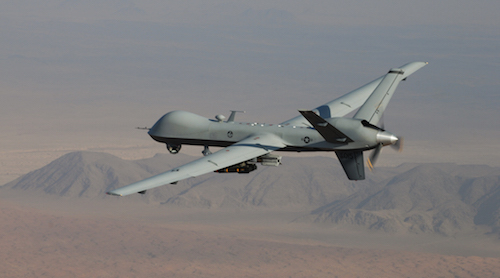 The MQ-9 Reaper Drone. It attacks and destroys time-sensitive targets, is remotely piloted, and used by the US Air Force.