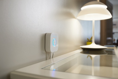 The industry-leading Philips Hue lighting is WiFi-connected and uses a hub, pictured, to control the lights. Image: Philips