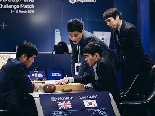 DeepMind's AlphaGo playing world number 1 Lee Sedol in March 2016.