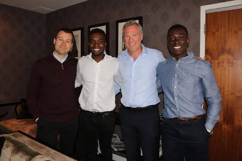 Spotters co-founders with UEFA's Head of Global Marketing Guy-Laurent Epstein. From L-R: Lee Gould, Nii Cleland, Guy-Laurent Epstein, Darrell Coker.
