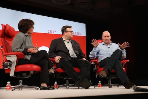 Investors, such as the prominent Silicon Valley investor Marc Andreessen (right), are starting to expect AI in every startup now. Image: Recode