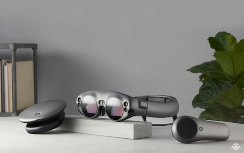 Magic Leap's Lightwear AR goggles, with the Lightpack (left) and Control (right).  (Image: Magic Leap)