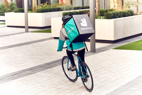Deliveroo cyclists are a common sight not only in UK towns and cities, but across Europe, as the London-based scale-up expands. (Image: Deliveroo)