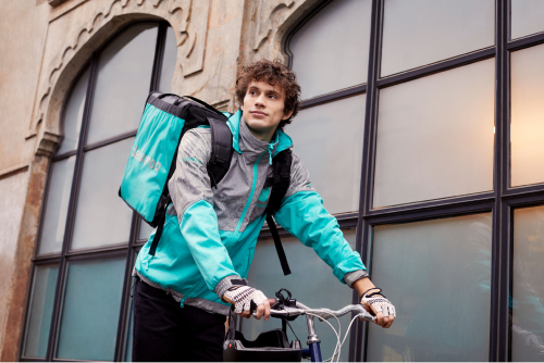 Like other members of the gig economy, Deliveroo riders do not get sick pay or pension contributions.  (Image: Deliveroo)