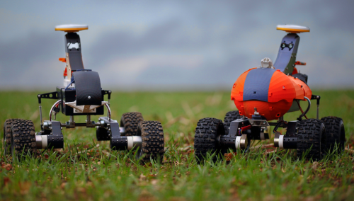 Two of Small Robot Company's 'Tom' robots, designed to monitor soil and crops. (Image: Small Robot Company)