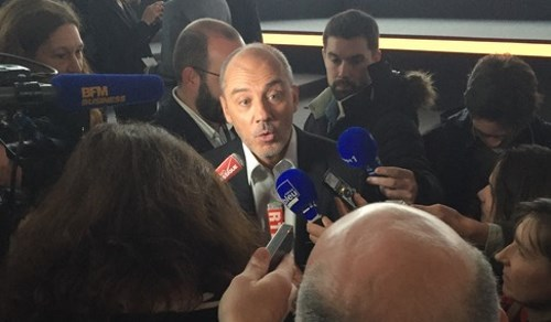 Orange CEO Stephane Richard fields questions at the recent Paris unveiling of the upcoming new Livebox.