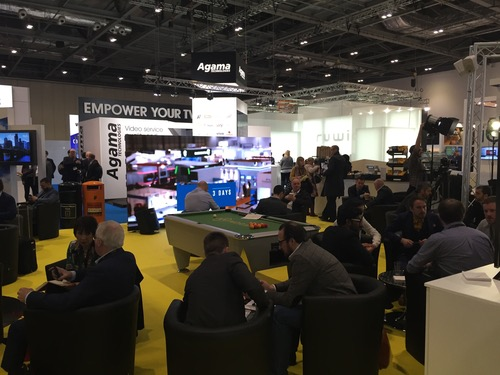 Attendees debate the future of the TV industry at London's Excel center.