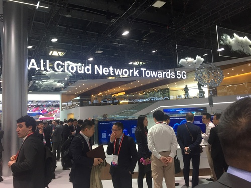 The Huawei Pavilion was decked out in clouds during Mobile World Congress.