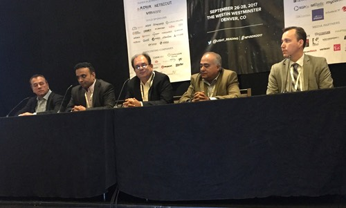 Speakers at the 'Are We There Yet? The State of NFV/SDN Deployment' panel are, from left to right, Steve Shalita, Pluribus; Shashi Kiran, Quali; Ian Roy, IBM; Vikram Saksena, NetScout; and Jim Sabey, BT.
