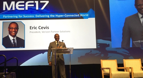 Eric Cevis, president of Verizon Partner Solutions, covers a lot of ground during his keynote address at MEF17.