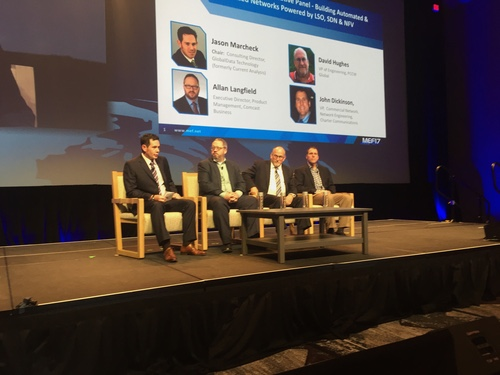 From left: Jason Marcheck, consulting director, GlobalData Technology, Allan Langfield, executive director,product management, Comcast Business,  David Hughes, vice president of engineering, PCCW Global and  John Dickinson, vice president, Commercial network, network engineering, Charter Communications discuss the SD-WAN during a panel at MEF17.