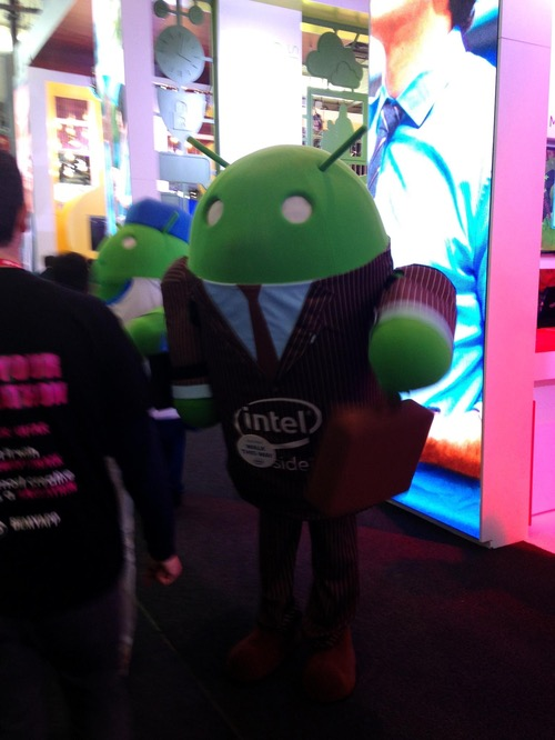 This little green man at the Intel booth could represent a 'thing' in the Internet of Things, or a green light telling you that your network is working, or maybe he's just supposed to be a little green man? At any rate, this photo comes from Shira Levine, Infonetics Research, now part of IHS Inc. Thanks, Shira!