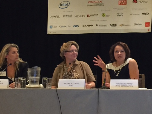 Monique Hayward, the director of outbound marketing for Intel's network platforms group; McCorcle; and Nancy Green, global healthcare lead at Verizon Enterprise Solutions, discuss the future of NFV, or 'Never-ending Female Value,' as dubbed by Hayward.