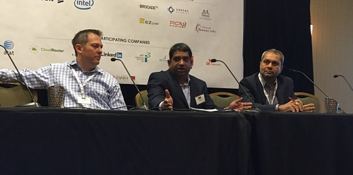 From left, Michael Bushong, Brocade; Saikrishna Kotha, LinkedIn; and Sanjeev Mervana, Cisco, debated on the capex and opex tactics for white box networks during one of the event's morning panels.