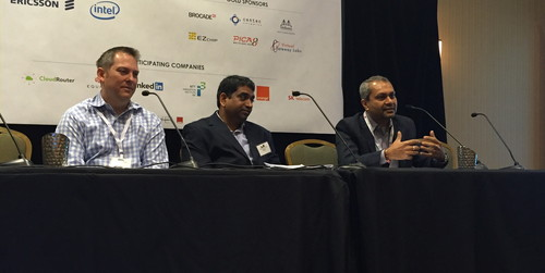 From left, panelists Bushong, Kotha and Mervana debate the capex and opex benefits of white box networks at Light Reading's White Box Strategies for CSPs event in Santa Clara.