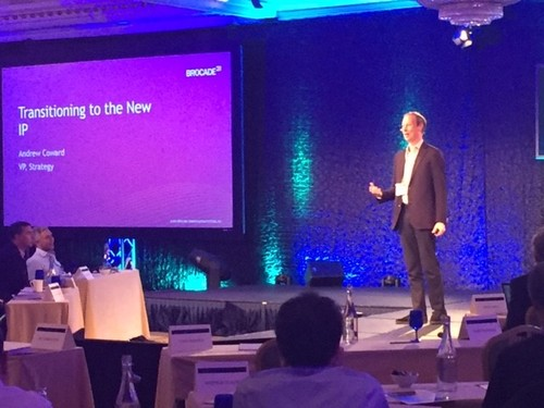 Brocade's Andrew Coward basks in the purple keynote haze at Light Reading's 2020 Vision Executive Summit in Dublin.