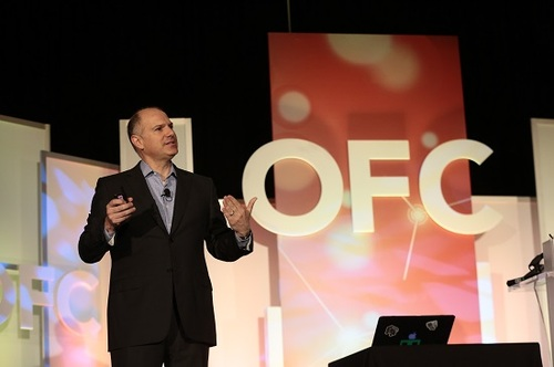 AT&T's Andre Fuetsch takes center stage at the Optical Fiber Conference in late March.