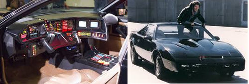 We may never perform stunts like David Hasselhoff, but one day our IoT cars could talk to us like KITT. (Sources: KITT Interior - Wikipedia; Hasselhoff - Saad Faruque)
