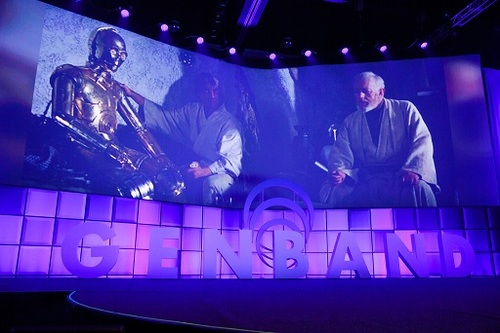 Genband began its first full day of Perspectives16 with a video that took its inspiration from Star Wars. (Source: Genband)