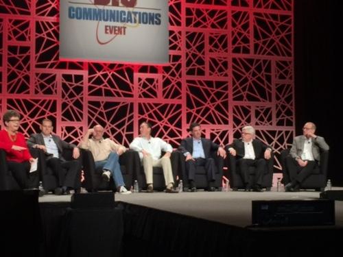 Carol Wilson's panelists offering sage-like advice on change. (From left: Wilson, Feger, Finkelstein, Junkins, MacNeil, Naramore, Nicklas.)