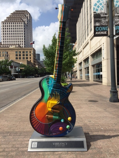 Stroll down Congress Avenue in downtown Austin and you'll be greeted by ten-foot painted guitars that are part of a project called Austin GuitarTown. They are painted by some of the city's most talented artists. You'll find them all over the city, including in the baggage claim at the airport.