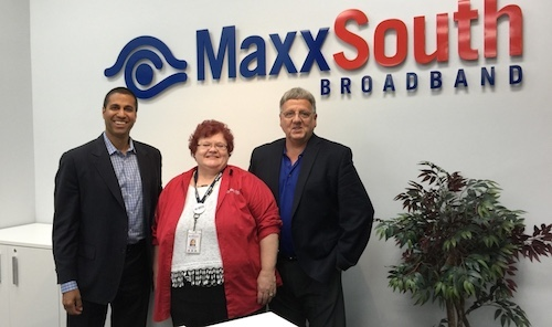 Ajit Pai (left) of the Federal Communications Commission (FCC) toured MaxxSouth Broadband, accompanied by Regional General Manager for MaxxSouth, Tonya Thompson (center) and Peter Kahelin, MaxxSouth president and CEO.