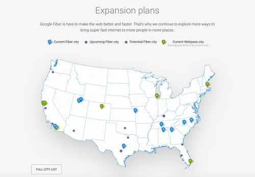 A map shows the growing number of regions where gigabit service is available: blue pins denote Google Fiber sites, green pins mark Webpass regions. (Source: Google Fiber Webpass)