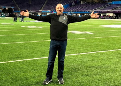 Brian Mecum, VP of Network-West at Verizon Wireless, takes the field at US Bank Stadium in Minneapolis.