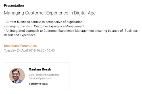 Gautam Borah will lead a presentation on customer experience during next week's Broadband Forum Asia. Learn more about his session here.