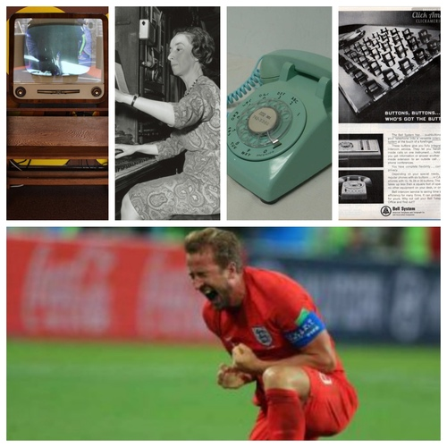 TVs were furniture in the 1960s, telephone operators kept busy connecting callers, the rotary phone was a household staple and this Bell business model was state of the art. England's team celebrates a victory on its way to the semi-finals of the FIFA World Cup 2018. (Sources, in order, L-R: 