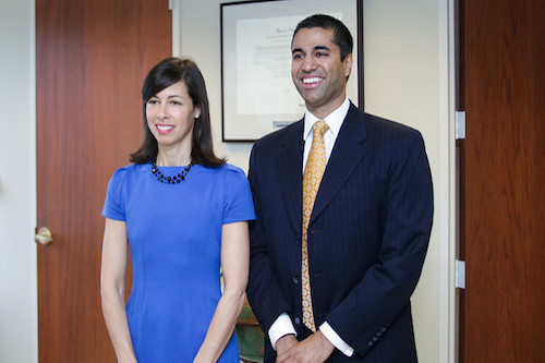 Back in 2012, Jessica Rosenworcel and Ajit Pai wait to be sworn in as the two new Commissioners at FCC headquarters in Washington, DC. (Photo source: FCC/Flickr)