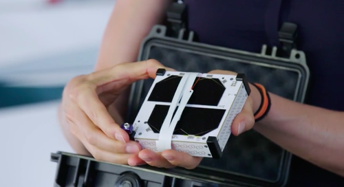 Swarm's 1/4U SpaceBEE satellite is small enough to hold in your hand. (Source: Swarm Technologies)