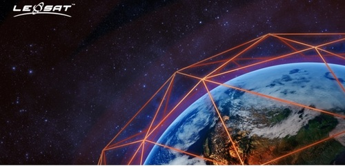 An artist rendering that illustrates LeoSat's vision for a globally interconnected, fishnet-style satellite data network.