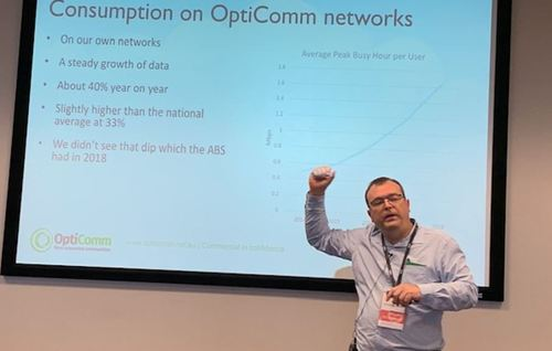 Data usage among OptiComm customers is growing 40% annually compared with Australia's national average of 33%, said Stephen Davies, CTO at the publicly traded wholesaler.
