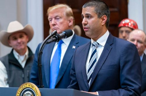 FCC Chairman Ajit Pai (right) is one of several administrative officials giving input to President Trump on Huawei's future role (or continued absence) in US infrastructure -- both fixed and 5G. (Photo source: Official White House Photo by Shealah Craighead)