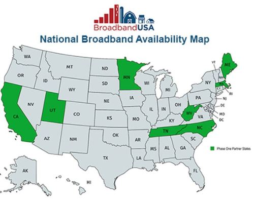 NTIA's is not sharing the upgraded map with the public but did provide an image of states that participated in the pilot mapping program. (Source: NTIA)