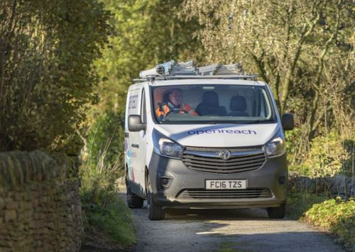 When technicians find roads in rural areas, like this part of Lancashire in England, they may be very narrow, twisty and unpaved -- or blocked by sheep. (Source: Openreach)