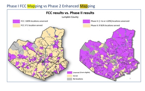 In a three-county pilot of Phase II of its broadband mapping project, the state of Georgia discerned a big difference between data provided by the FCC and data it received directly from providers under NDA. (Source: Georgia Broadband Initiative)