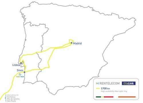 Rentelcom will use EllaLink's dark fiber in Spain and Portugal.   (Source: EllaLink)