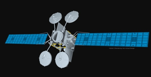 Artist rendering of a ViaSat-3 satellite. Though the pandemic has slowed down its plans, Viasat is working to deploy three new satellites  in the coming years that, together, will provide global coverage.  
