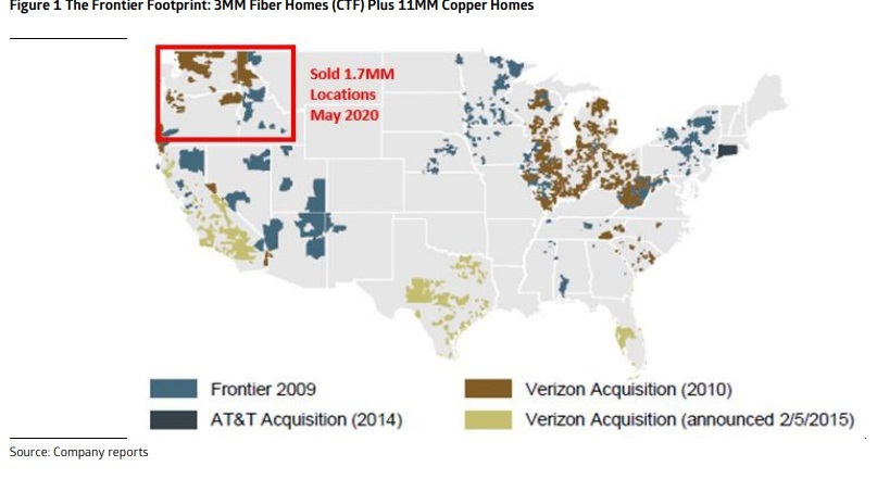 Analysts expect Frontier, armed with FTTP upgrades, to change the narrative of the company and alter a view that sees its story as the tale of two footprints comprised of 3 million fiber homes and 11 million copper homes.   Click here for a larger version of this image.   (Image source: Cowen)