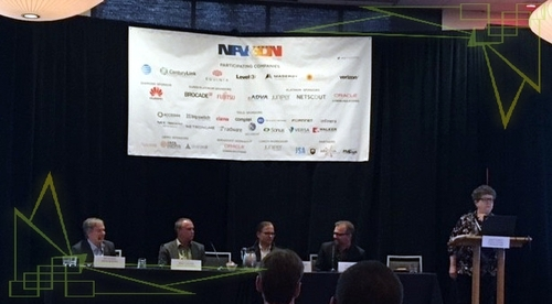 NFV interoperability experts who spoke on the New IP Agency panel included from left: Jim Hodges; Brad Chalker; Carsten Rossenhoevel; Scott Sneddon; and moderator Carol Wilson, editor-at-large of Light Reading.